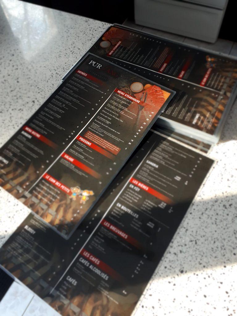 menu, restaurant, plastifié